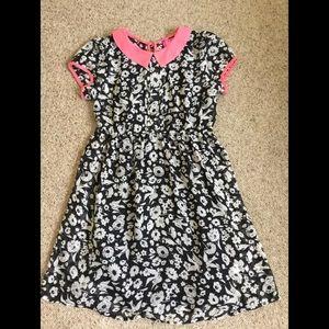 Girls size 12 black & pink floral  dress